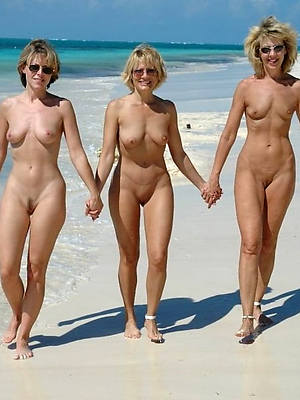 Busty nude matures on beach